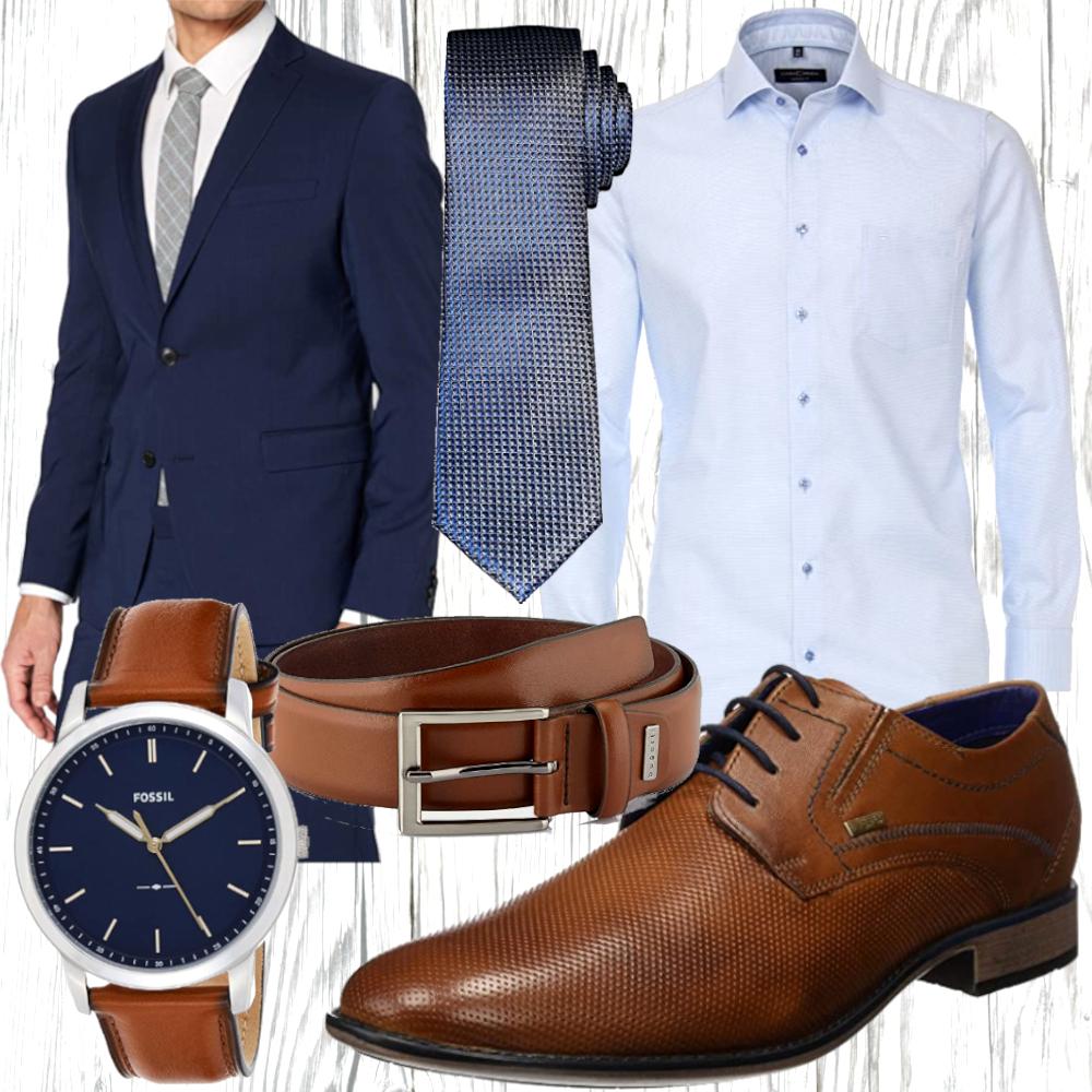 Herren Anzug als blauer Business Look   Fashion - Outfit ...